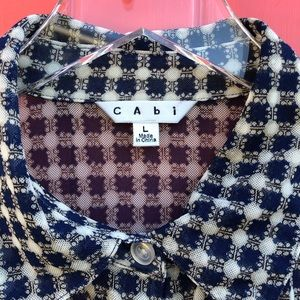 CAbi Long Sleeve Mesh Button Down Top Navy Large